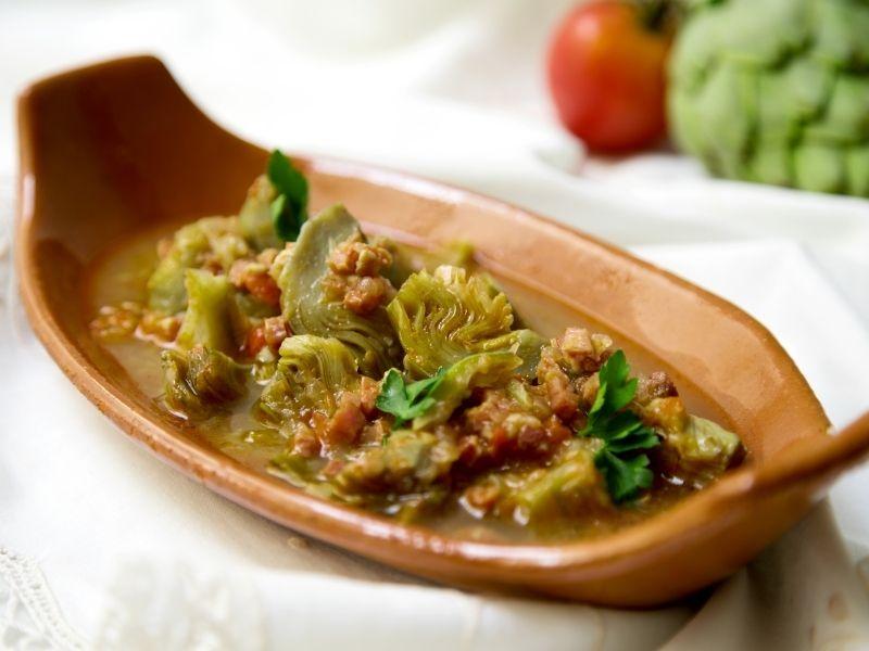 alcachofas con jamón ibérico